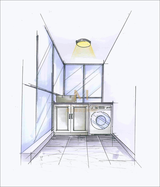 美式风格装修设计洗衣房手绘效果图